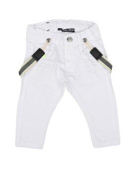 Pantaloni de blug albi cu bretele