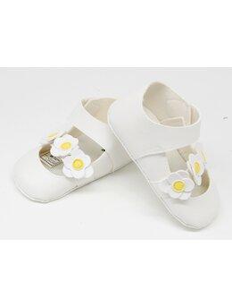 Pantofiori eleganti fetite cu floricele model alb cu floricele galbene