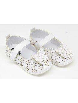 Pantofiori eleganti fetite cu fluturas model alb