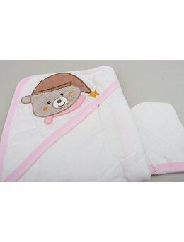 Prosopel ursulet cu caciulita model roz