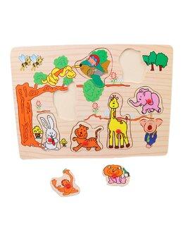 Puzzle din lemn cu animale salbatice safari