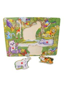 Puzzle din lemn cu animnale jungla