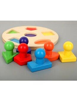 Puzzle Montessori cu 6 forme geometrice din lemn