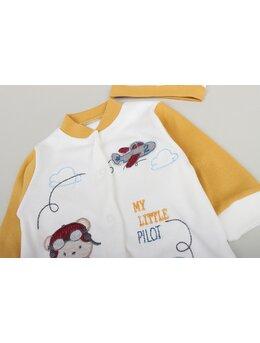 Salopeta baby aviator galben