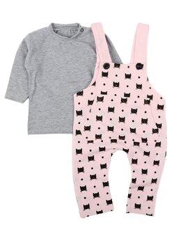Salopeta cu bluza PISICUTE BLACK model roz-gri