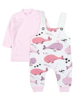 Salopeta cu bluza WHALE IN THE OCEAN model roz