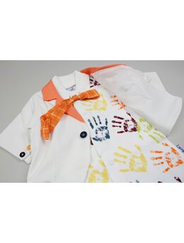 Salopeta eleganta manute imprimata model portocaliu