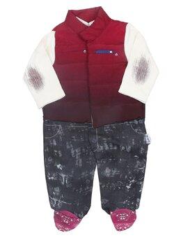 Salopeta Fashion cu vesta grena