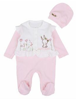 Salopeta Funny Bunny roz cu caciulita