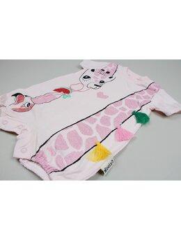 Salopeta girafa-flamingo roz