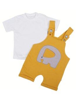 Salopeta + bluzița elefant model galben