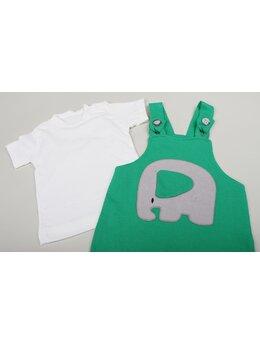 Salopeta + bluzița elefant model verde