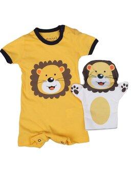 Salopeta ursuleț cu mănușă model galben