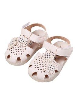 Sandale albe cu floricica din vinilin