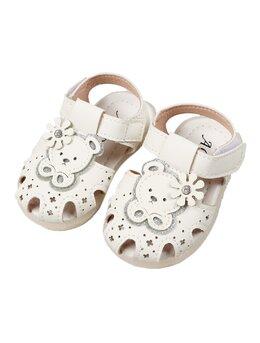 Sandale albe cu urs din vinilin