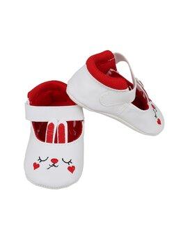 Sandale iepuraș baby alb-rosu
