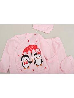 Set 5 piese elefant pinguin fata&baiat roz