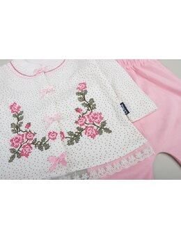 Set floricele brodate model roz
