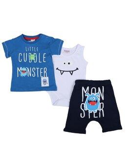 Set Little Monster model albastru