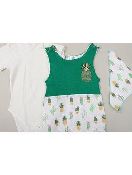 Set salopeta cu body si bavetica MUSELINA CACTUS alb-verde