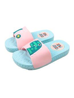 Slapi cu dino T-rex pentru copii model bleu-roz