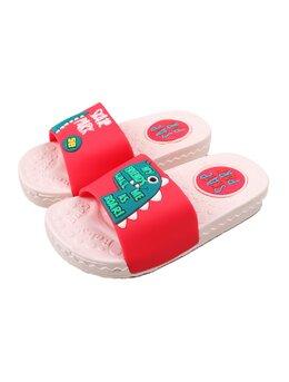 Slapi cu dino T-rex pentru copii model roz-rosu