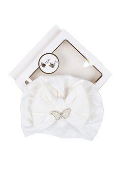 Turban alb cu strasuri si margelute model fluture
