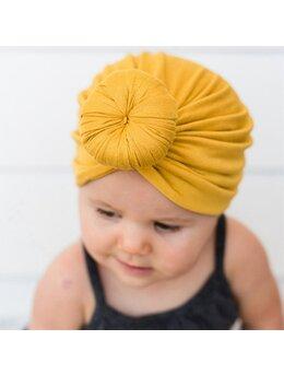 Turban elastic catifelat galben