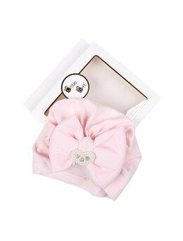Turban roz cu strasuri si margelute model inimioara