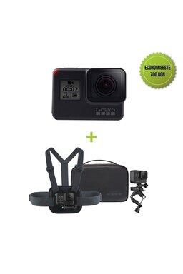 GoPro HERO7 Black + Sports Kit GoPro (Montura pentru piept Chesty + Montura pentru ghidon/scaun/bara)