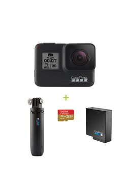GoPro Hero7 Black Special Bundle (Hero7 + Card 32GB + Baterie reincarcabila + Shorty Mini trepied)