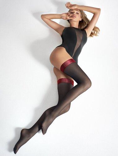 oficial disponibilitate Marea Britanie design inovator Ciorapi cu banda adeziva rosie Coco T21 40 den - Sosetaria.ro