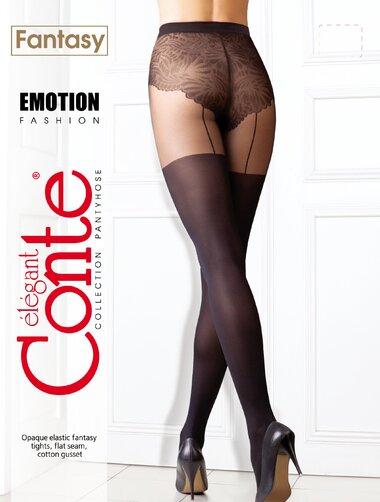 Ciorapi cu model imitatie jambiere si chilot decorat Conte Emotion 50 den