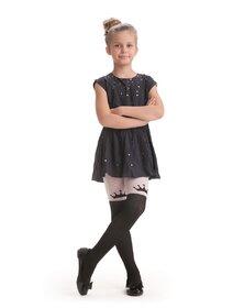 Ciorapi fete cu model imitatie jambiere si coronita Knittex Crown 40 den