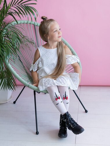 Ciorapi fete cu model unicorn si fundita Knittex Unicorn 40 den