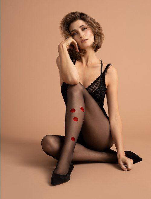 Ciorapi fini cu model Fiore Kiss Me 15 den