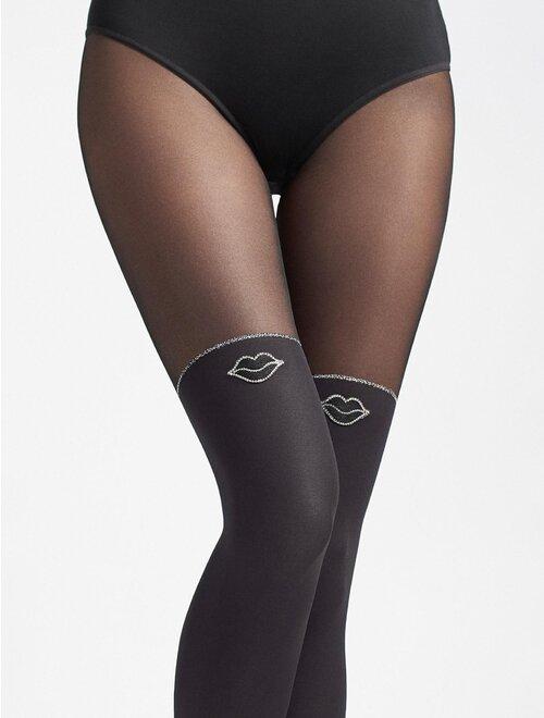 Ciorapi imitatie jambiere si insertii cu fir metalizat Marilyn Zazu Kiss T01