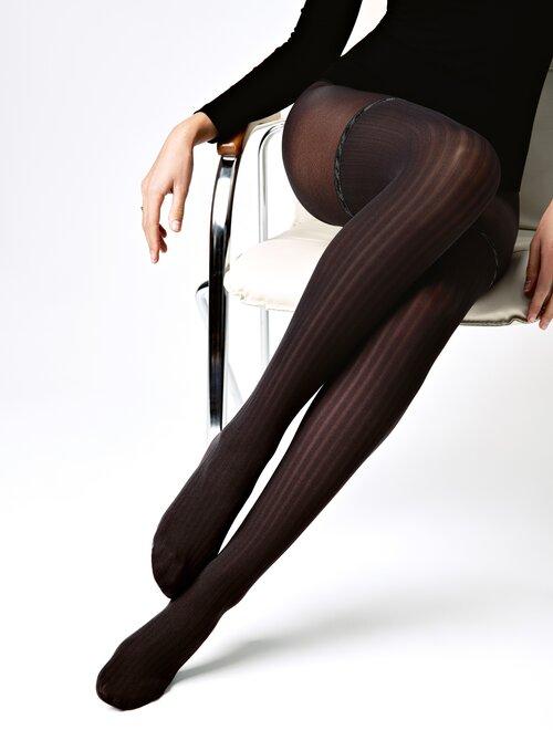 Ciorapi cu model raiat si imitatie jambiere Conte Elegant Glam 40 den