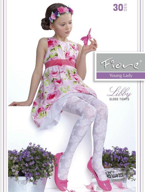 Ciorapi fete satinati cu model Fiore Libby 30 den