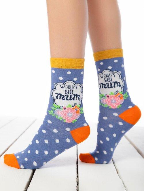 Sosete albastre cu buline si text decorat Socks Concept SC-1590