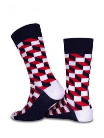 Sosete albe cu patrate rosii Socks Concept SC-1526