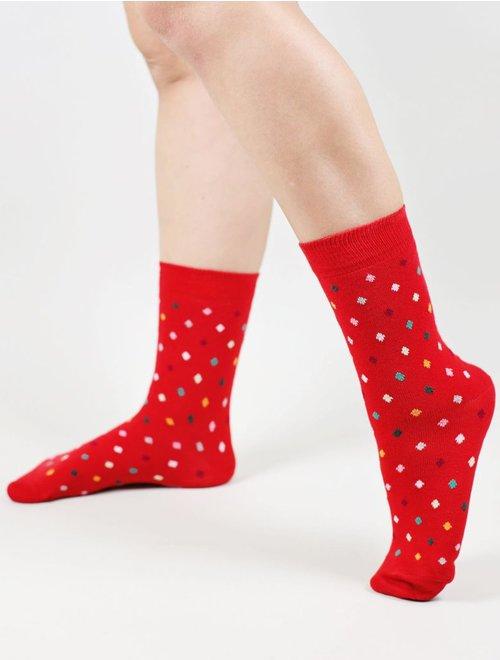Sosete cu picatele colorate The Happy Toe Small Dots Red