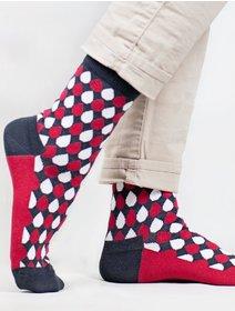 Sosete cu picaturi colorate The Happy Toe Red Drops