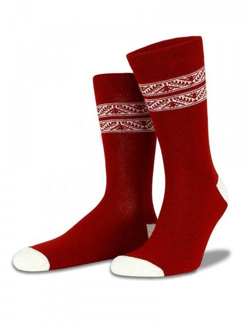 Sosete lana si vascoza bordo cu model alb Socks Concept SC-1609