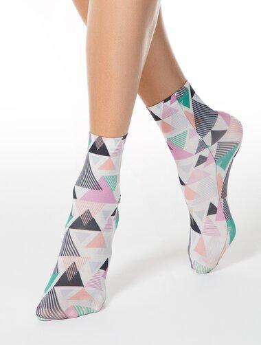 Sosete microfibra cu triunghiuri colorate Conte Elegant Triangles 50 den
