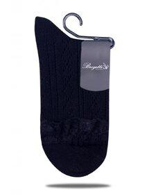 Sosete negre model jacard si manseta dantelata Brogetti BRG394-1