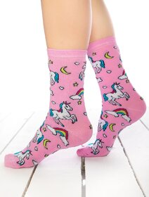 Sosete roz cu unicorni Socks Concept BRG444