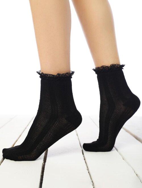Sosete viscoza tip jacard cu danteluta Socks Concept SC-1878