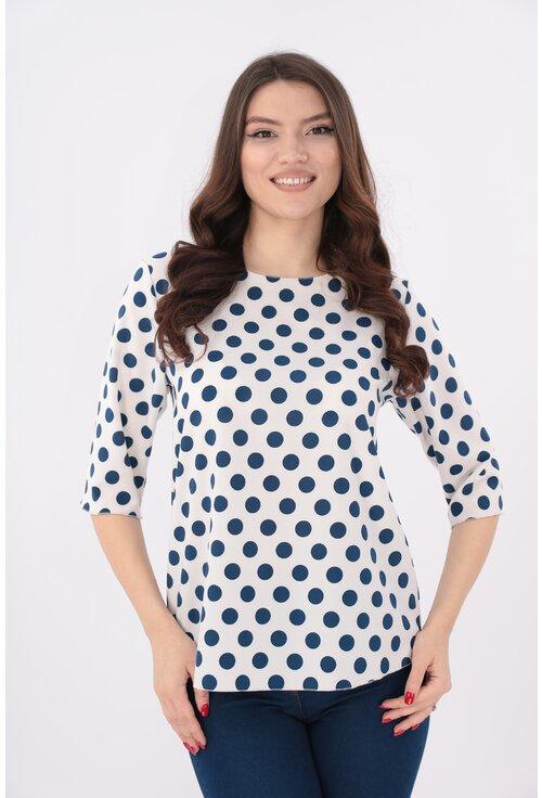 Bluza alba cu buline bleumarin