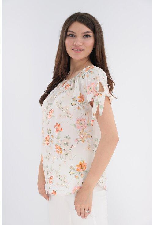 Bluza alba cu flori caramizii si fundite la maneci
